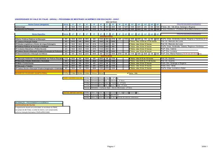 UNIVERSIDADE DO VALE DO ITAJAÍ - UNIVALI - PROGRAMA DE MESTRADO ACADÊMICO EM EDUCAÇÃO - 2009/1                            ...
