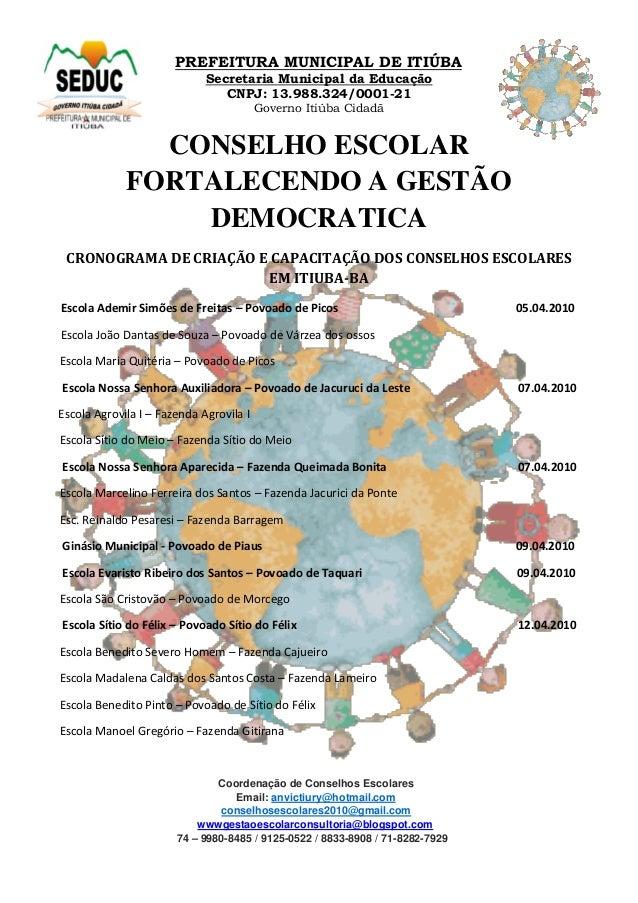 PREFEITURA MUNICIPAL DE ITIÚBA Secretaria Municipal da Educação CNPJ: 13.988.324/0001-21 Governo Itiúba Cidadã CONSELHO ES...