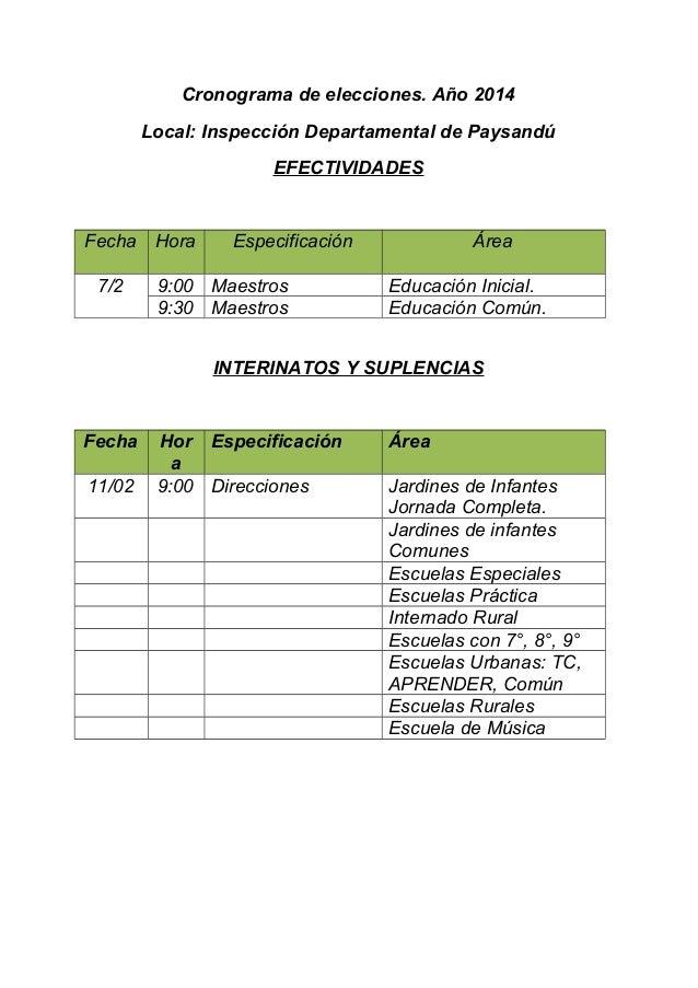 Cronograma de elecciones. Año 2014 Local: Inspección Departamental de Paysandú EFECTIVIDADES  Fecha Hora 7/2  Especificaci...