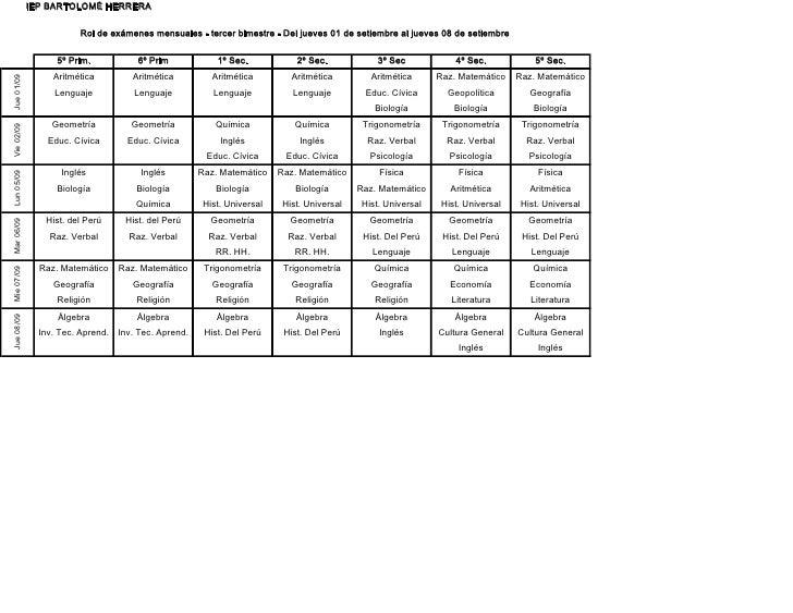 IEP BARTOLOMÉ HERRERA                       Rol de exámenes mensuales - tercer bimestre - Del jueves 01 de setiembre al ju...