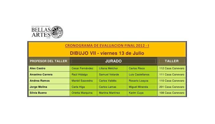 CRONOGRAMA DE EVALUACION FINAL 2012 - I                      DIBUJO VII - viernes 13 de JulioPROFESOR DEL TALLER          ...