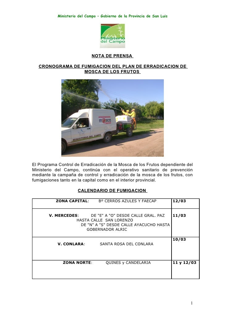 Ministerio del Campo – Gobierno de la Provincia de San Luis                                   NOTA DE PRENSA     CRONOGRAM...
