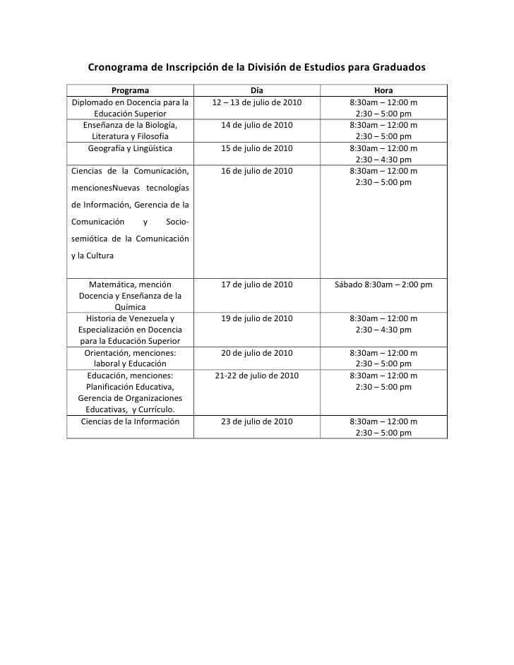Cronograma de Inscripción de la División de Estudios para Graduados<br />ProgramaDíaHoraDiplomado en Docencia para la Educ...