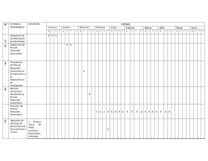 Cronograma del plan de investigación acción