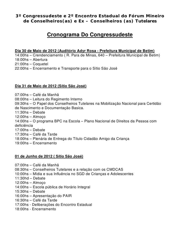 Cronograma e ficha inscrição do 3º congressudeste