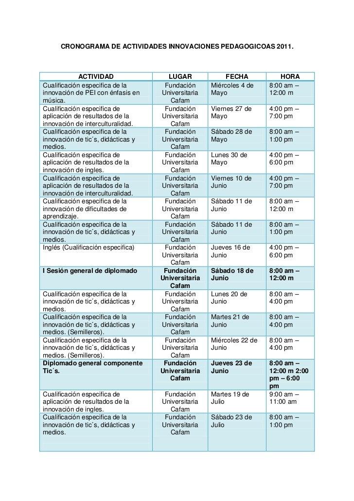 CRONOGRAMA DE ACTIVIDADES INNOVACIONES PEDAGOGICOAS 2011.             ACTIVIDAD                LUGAR              FECHA   ...