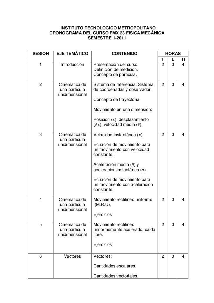 INSTITUTO TECNOLOGICO METROPOLITANO         CRONOGRAMA DEL CURSO FMX 23 FISICA MECÁNICA                        SEMESTRE 1-...