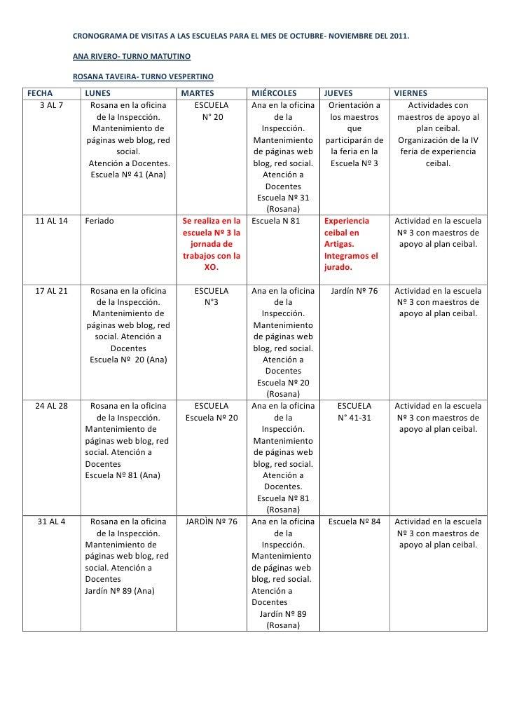 CRONOGRAMA DE VISITAS A LAS ESCUELAS PARA EL MES DE OCTUBRE- NOVIEMBRE DEL 2011.            ANA RIVERO- TURNO MATUTINO    ...