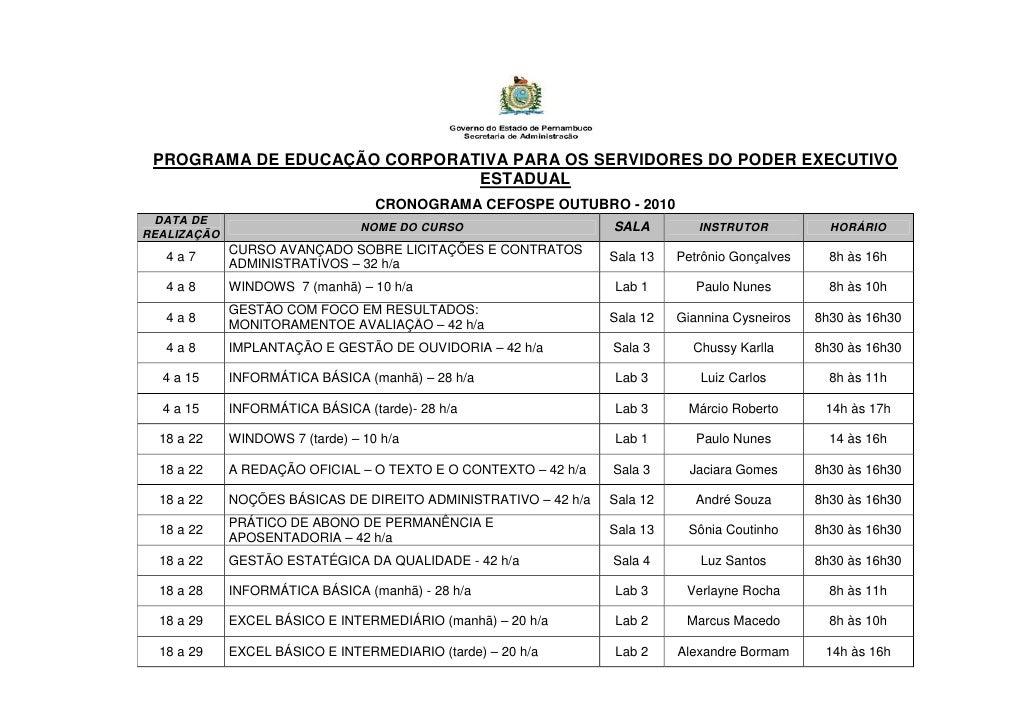 PROGRAMA DE EDUCAÇÃO CORPORATIVA PARA OS SERVIDORES DO PODER EXECUTIVO                               ESTADUAL             ...
