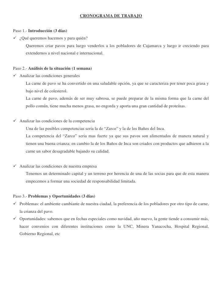 CRONOGRAMA DE TRABAJO<br />Paso 1.- Introducción (3 días)<br />¿Qué queremos hacemos y para quién?<br />Queremos criar pav...