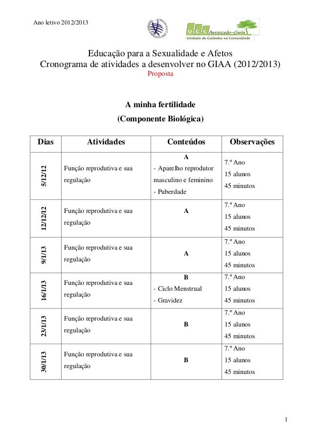 Ano letivo 2012/2013            Educação para a Sexualidade e Afetos  Cronograma de atividades a desenvolver no GIAA (2012...