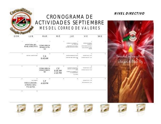 CRONOGRAMA DE ACTIVIDADES SEPTIEMBRE MES DEL CORREO DE VALORES NIVEL DIRECTIVO ABRIL 2013 DOM LUN MAR MIÉ JUE VIE SÁB 1 2 ...
