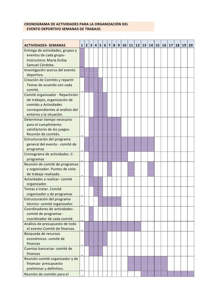 CRONOGRAMA DE ACTIVIDADES PARA LA ORGANIZACIÓN DEL EVENTO DEPORTIVO SEMANAS DE TRABAJO.ACTIVIDADES- SEMANAS               ...