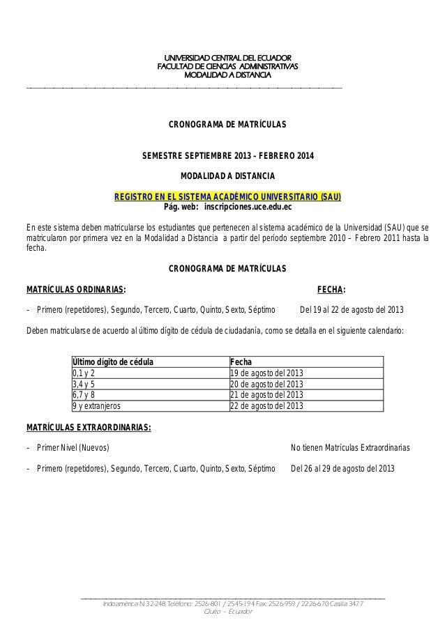 UNIVERSIDAD CENTRAL DEL ECUADOR FACULTAD DE CIENCIAS ADMINISTRATIVAS MODALIDAD A DISTANCIA _______________________________...