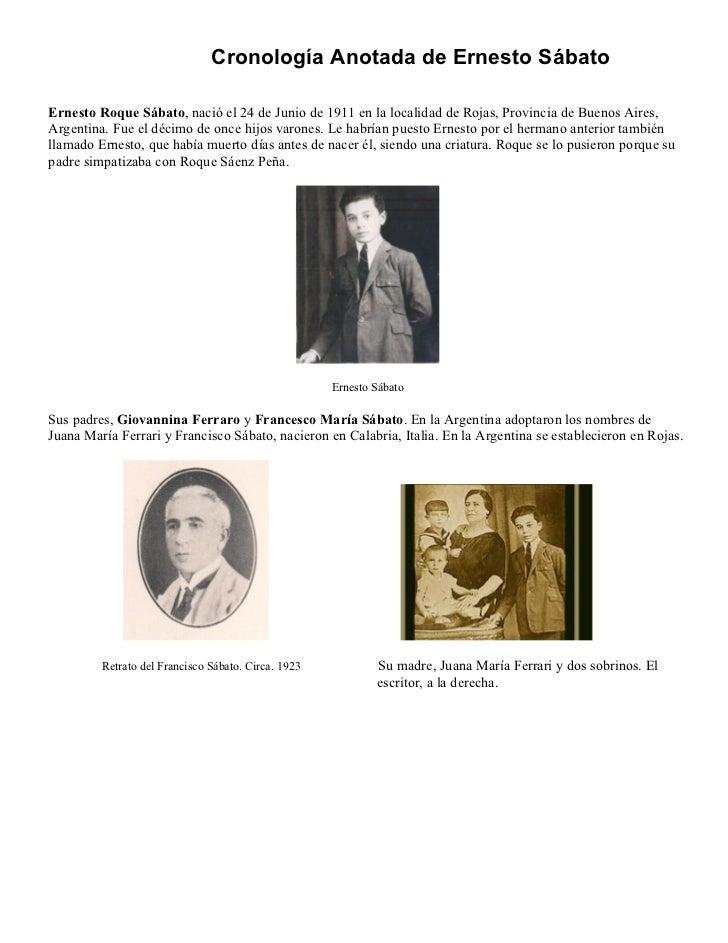 Cronología Anotada de Ernesto SábatoErnesto Roque Sábato, nació el 24 de Junio de 1911 en la localidad de Rojas, Provincia...