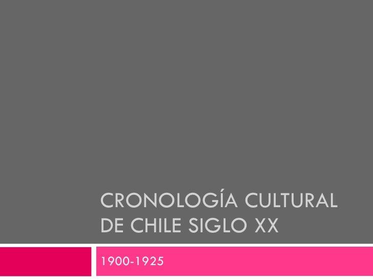 CRONOLOGÍA CULTURAL DE CHILE SIGLO XX 1900-1925