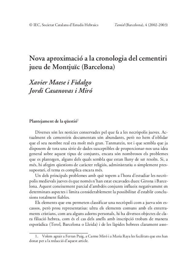 © IEC, Societat Catalana d'Estudis Hebraics          Tamid (Barcelona), 4 (2002-2003)Nova aproximació a la cronologia del ...