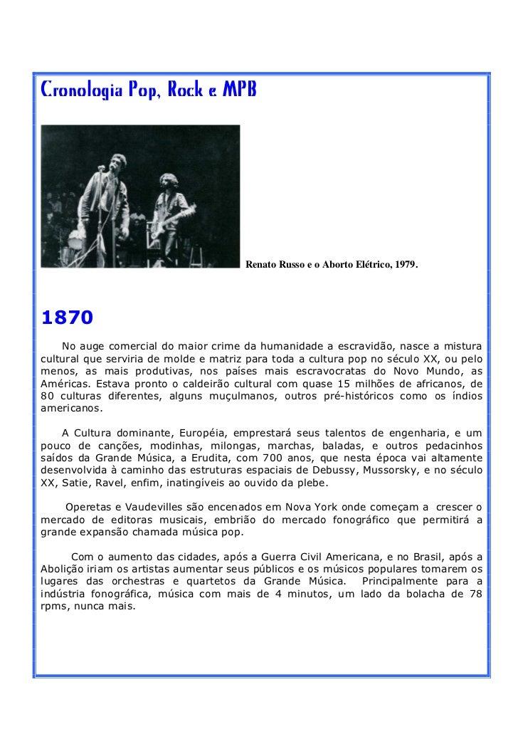 Cronologia Pop, Rock e MPB                                       Renato Russo e o Aborto Elétrico, 1979.1870    No auge co...