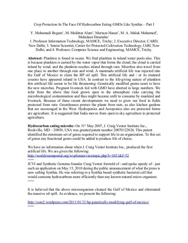 Crop Protection In The Face Of Hydrocarbon Eating GMOs Like Synthia – Part IY. Mohamadi Begum1, M. Mukhtar Alam2, Murtaza ...