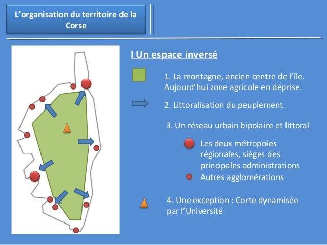 3. Un réseau urbain bipolaire et littoral  L'organisation du territoire de la  Corse  I Un espace inversé  1. La montagne,...