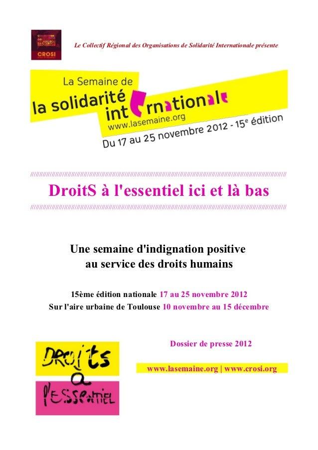 Le Collectif Régional des Organisations de Solidarité Internationale présente/////////////////////////////////////////////...