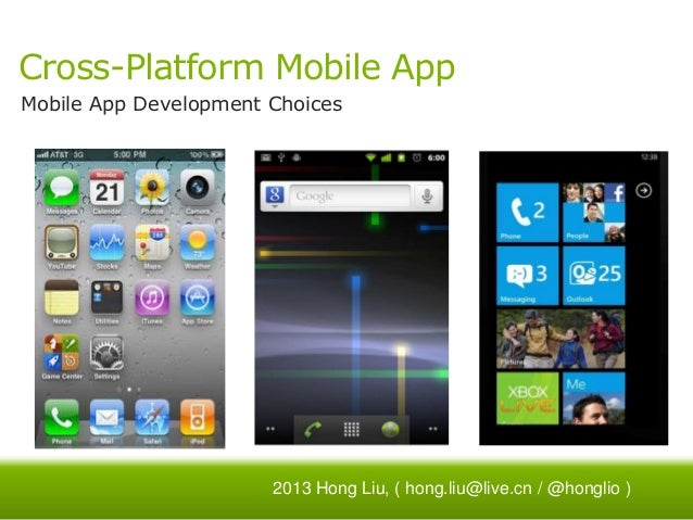 Cross-Platform Mobile App Mobile App Development Choices  2013 Hong Liu, ( hong.liu@live.cn / @honglio )