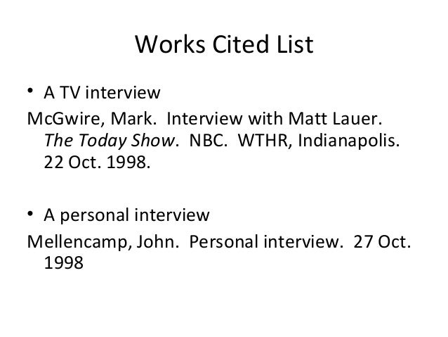 How to cite a personal interview in a paper?