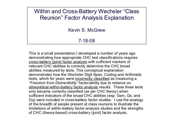 Intelligence test cross-battery factor analysis:  The Wechsler class reunions