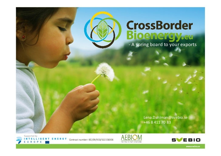 -‐ A spring board to your exports -‐ Dedicated to increase the use of bioenergy in an ...