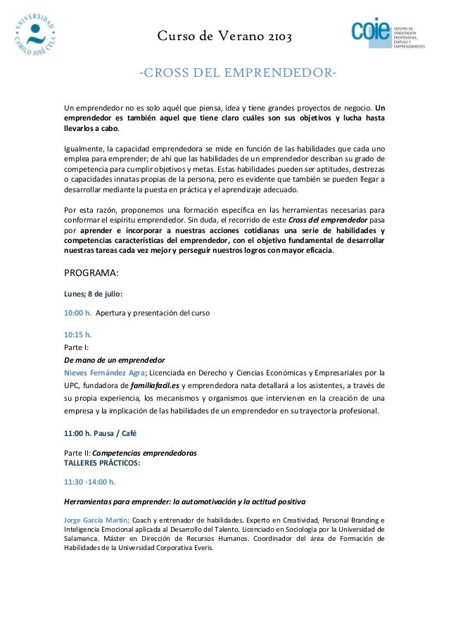 """""""Cross del Emprendedor"""", Curso de Verano 2013 en la UCJC . Inscripción hasta 28/06"""