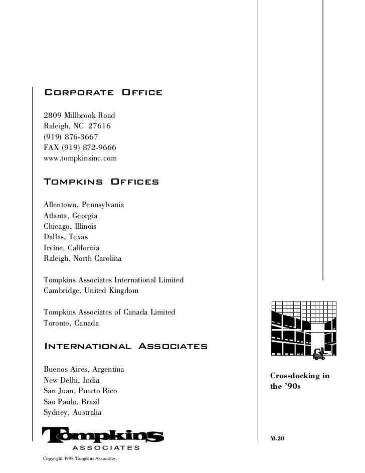 Corporate Office2809 Millbrook RoadRaleigh, NC 27616(919) 876-3667FAX (919) 872-9666www.tompkinsinc.comTompkins OfficesAll...