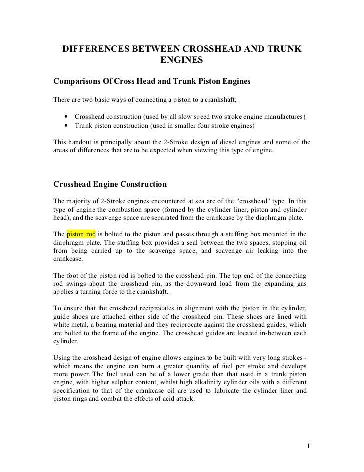 Crosshead & trunk engines