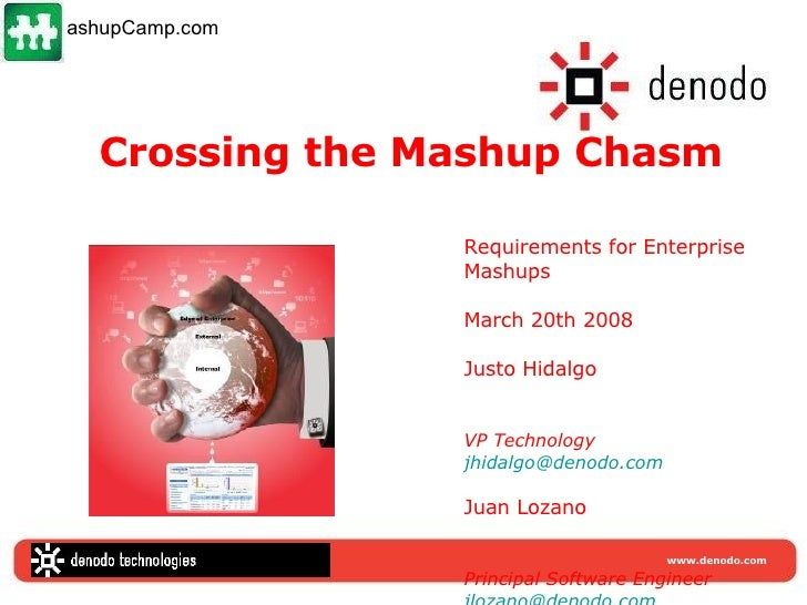 Crossing the Mashup Chasm Requirements for Enterprise Mashups  March 20th 2008 Justo Hidalgo VP Technology [email_address]...