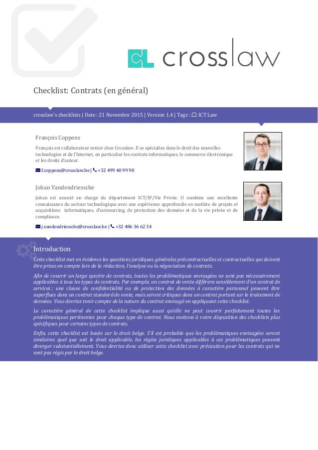 Crosslaw checklist standard contract 1.3 fr