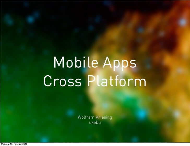 Mobile Apps                            Cross Platform                                 Wolfram Kriesing                    ...