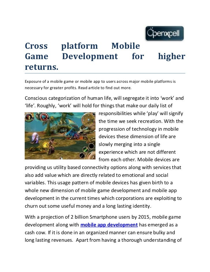 Cross    platform MobileGame     Development  for                                              higherreturns.Exposure of a...