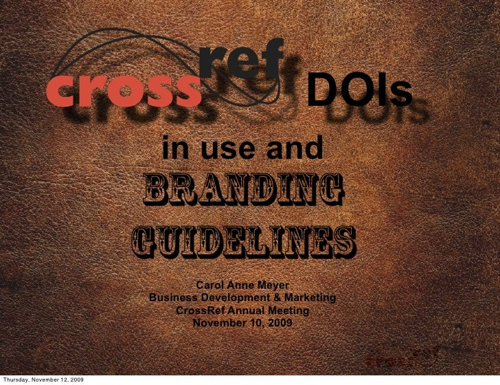 CrossRef DOIs in Use and Branding Guidelines