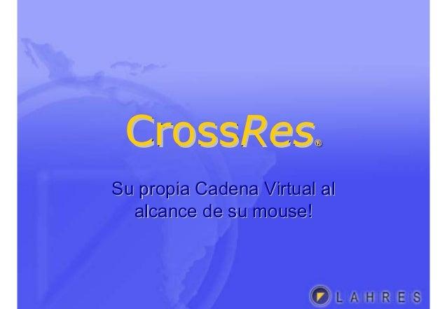 CrossRes®CrossCrossResRes®® Su propia Cadena Virtual alSu propia Cadena Virtual al alcance de su mouse!alcance de su mouse!