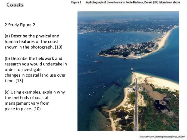 2 Study Figure 2.(a) Describe the physical andhuman features of the coastshown in the photograph. (10)(b) Describe the fie...
