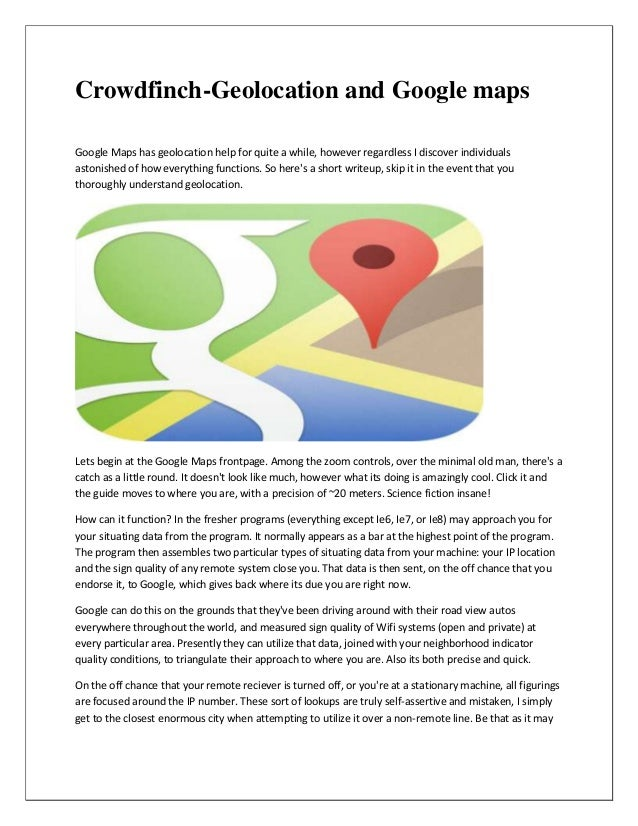 Crowdfinch geolocation and google maps
