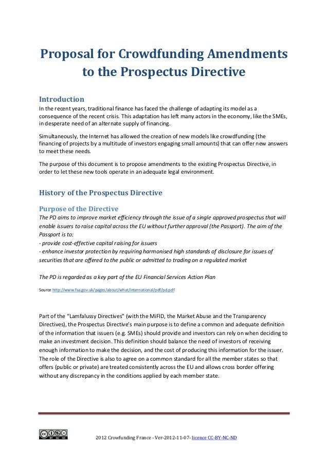 Crowdfunding France - Proposal for Crowdfunding Amendments to the Prospectus Directive