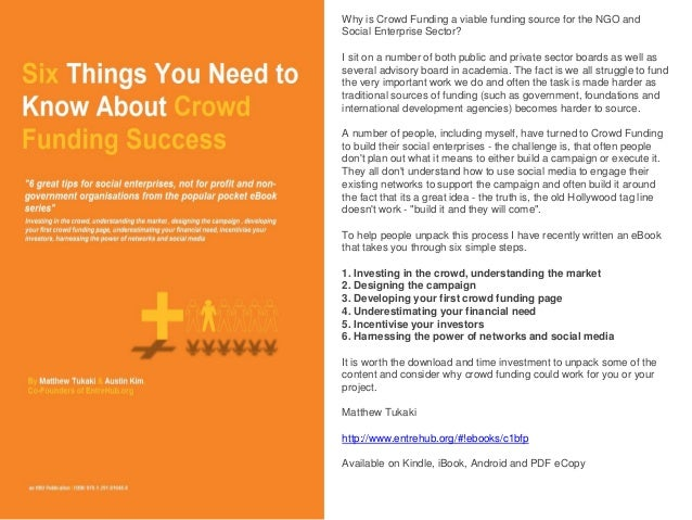 Why is Crowd Funding a viable funding source for the NGO and Social Enterprise Sector?