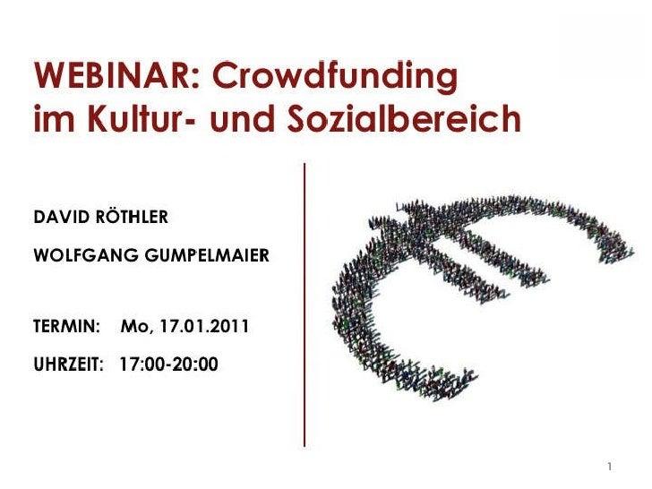 Crowdfunding im Kultur und Sozialbereich