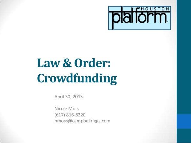 Crowdfunding with Nicole Moss