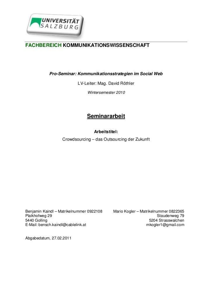 41275-483870<br />FACHBEREICH KOMMUNIKATIONSWISSENSCHAFT<br />Pro-Seminar: Kommunikationsstrategien im Social Web<br />LV-...
