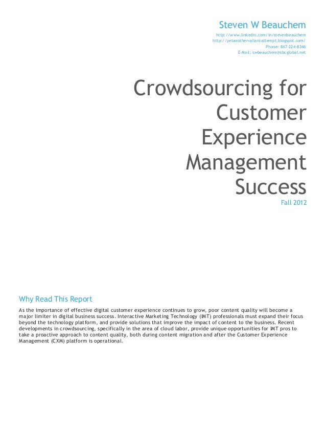 Crowdsourcing for Customer Experience Management Success