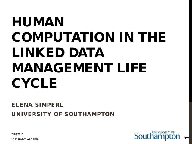 HUMAN COMPUTATION IN THE LINKED DATA MANAGEMENT LIFE CYCLE ELENA SIMPERL UNIVERSITY OF SOUTHAMPTON 7/18/2013 1st PRELIDA w...