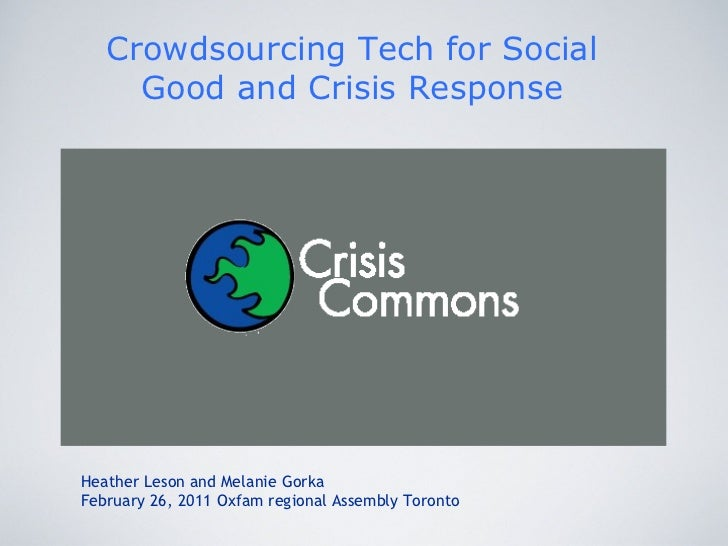 Crowdsourcing tech for social good and crisis response