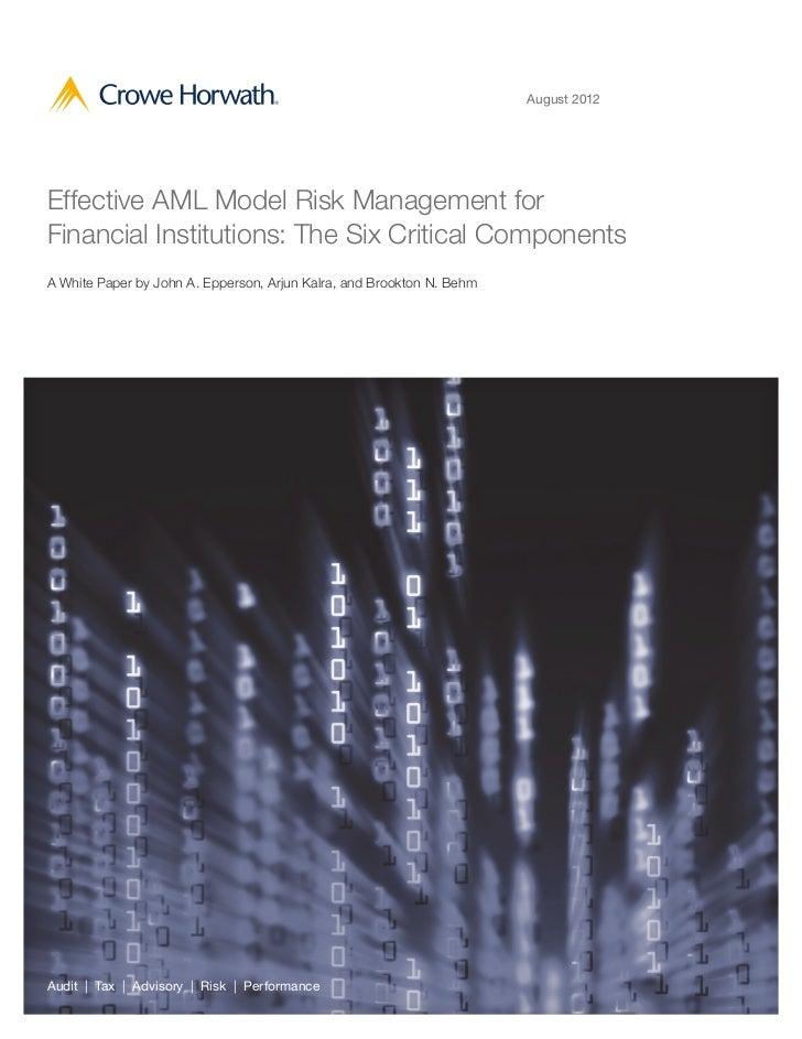 Crowe AML Model Risk Management Whitepaper