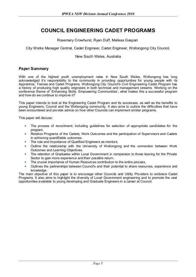 IPWEA NSW Division Conference: Engineering Cadet Programs